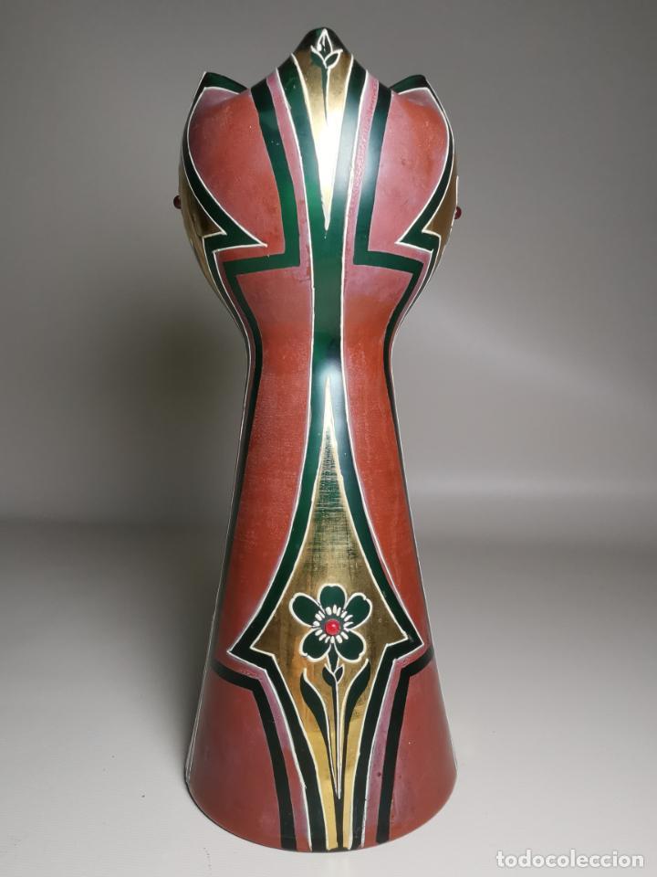 Antigüedades: jarron florero modernista catalan ,para cultivo jacintos, esmaltado y dorado a fuego - Foto 2 - 224253990