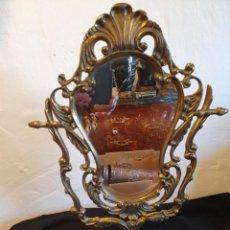 Antigüedades: ESPEJO DE SOBREMESA EN BRONCE. Lote 224286805