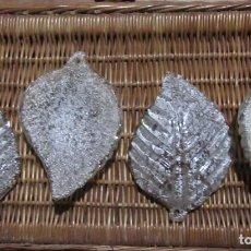 Antigüedades: 4 HOJAS DE CRISTAL DE MURANO. Lote 224295726