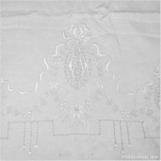 Oggetti Antichi: FUNDA DE ALMOHADA DE MATRIMONIO. LINO BORDADO A MANO. ESPAÑA. CIRCA 1950. Lote 252076940