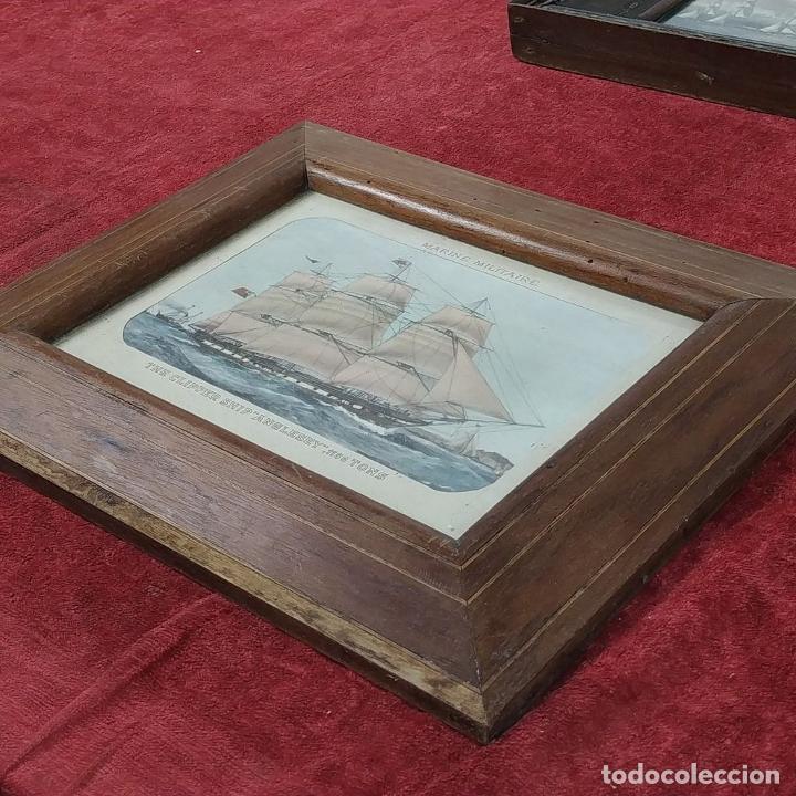 Antigüedades: 2 MARCOS ISABELINOS. MADERA CON INCRUSTACIONES EN METAL Y MADERA. ESPAÑA. SIGLO XIX - Foto 14 - 224319253