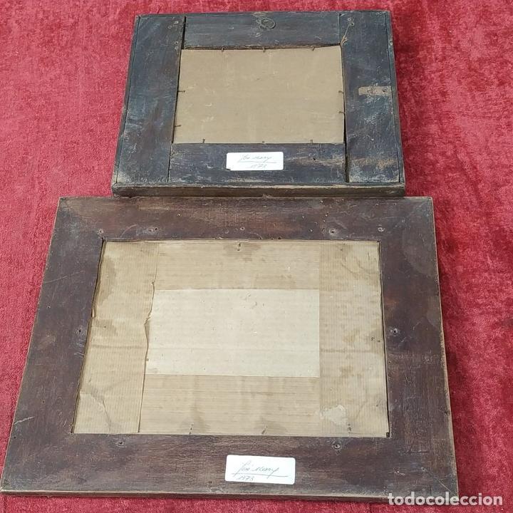 Antigüedades: 2 MARCOS ISABELINOS. MADERA CON INCRUSTACIONES EN METAL Y MADERA. ESPAÑA. SIGLO XIX - Foto 17 - 224319253