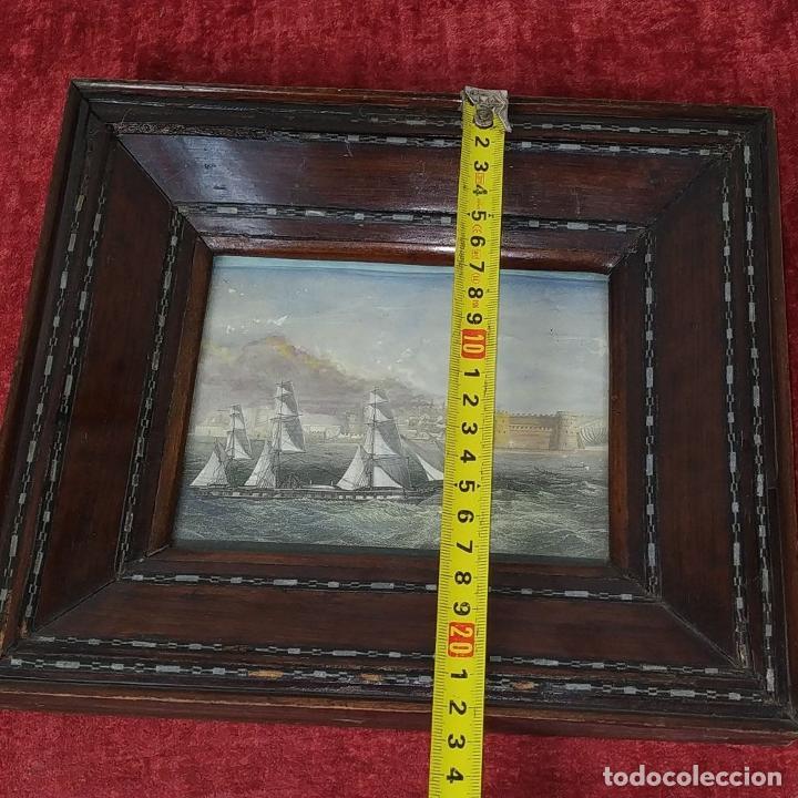 Antigüedades: 2 MARCOS ISABELINOS. MADERA CON INCRUSTACIONES EN METAL Y MADERA. ESPAÑA. SIGLO XIX - Foto 20 - 224319253