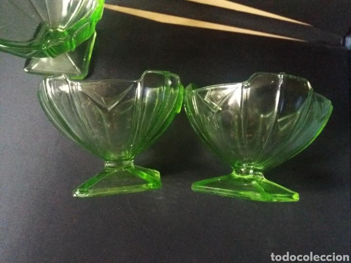 Antigüedades: 3 copas postre cuencos fruteros cristal uralino ouraline glass uranio art deco 30s verde 11cm - Foto 2 - 224332465