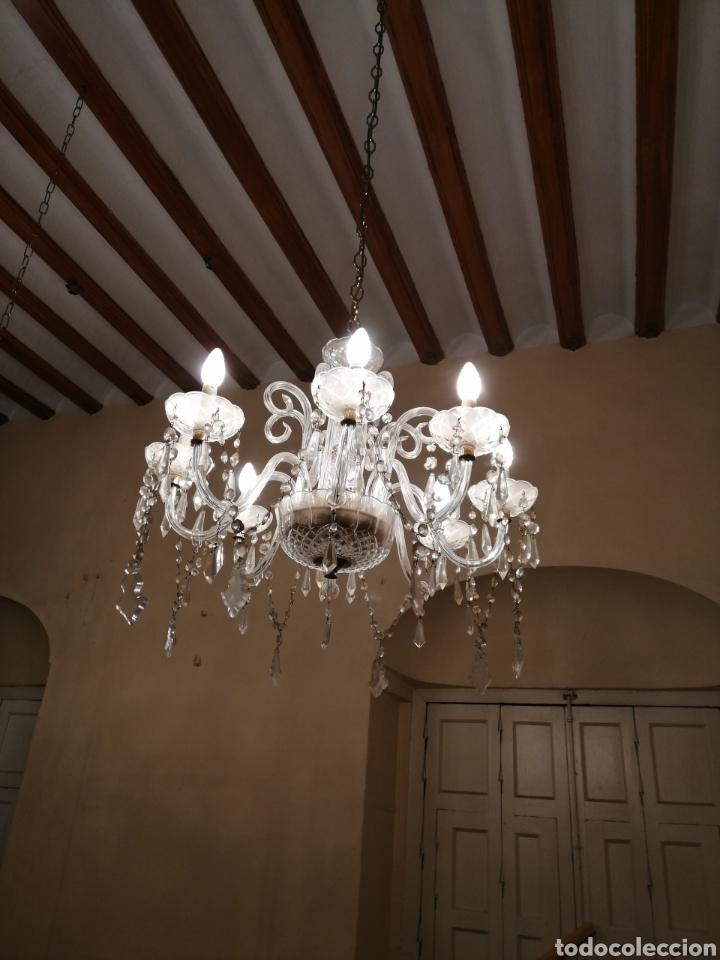 Antigüedades: Lámpara de cristal y bronce 8 brazos - Foto 2 - 224444340
