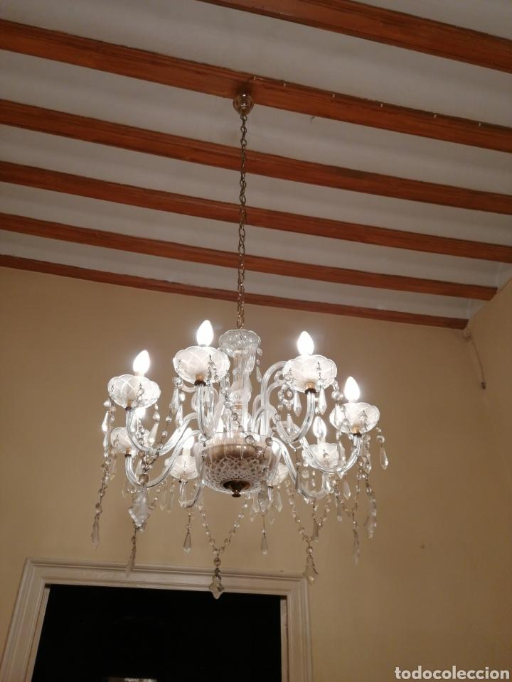 Antigüedades: Lámpara de cristal y bronce 8 brazos - Foto 3 - 224444340