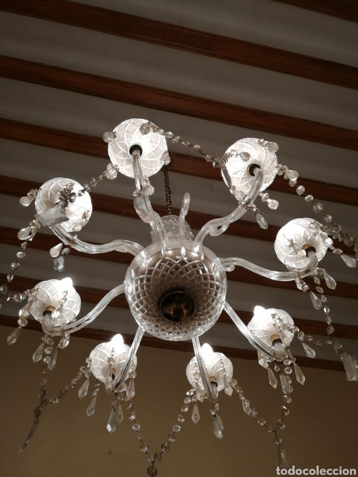 Antigüedades: Lámpara de cristal y bronce 8 brazos - Foto 4 - 224444340