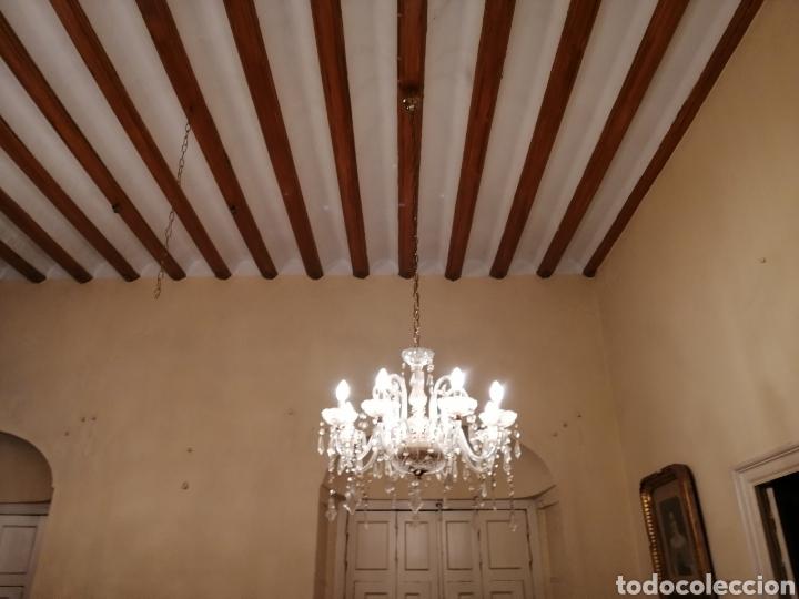 Antigüedades: Lámpara de cristal y bronce 8 brazos - Foto 5 - 224444340
