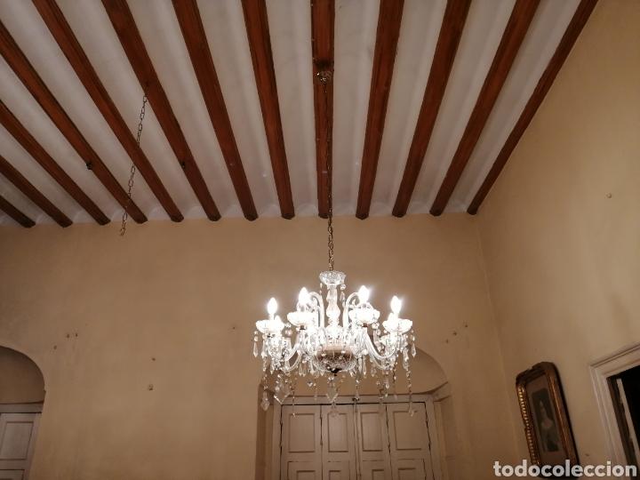 Antigüedades: Lámpara de cristal y bronce 8 brazos - Foto 6 - 224444340