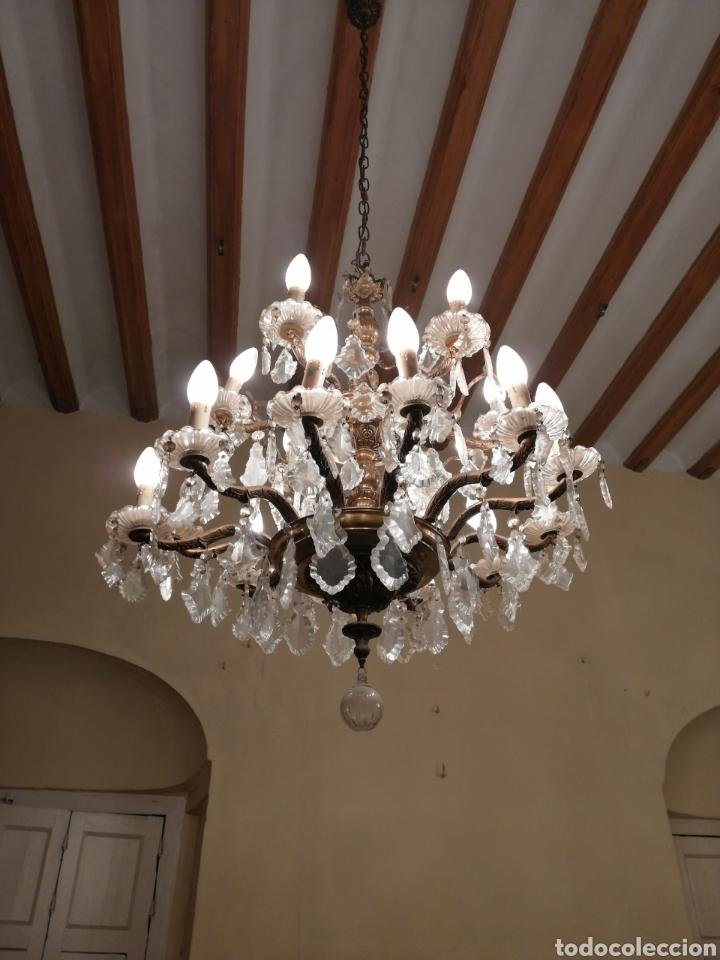 Antigüedades: Lámpara de araña 18 brazos de cristal y bronce - Foto 3 - 224444792