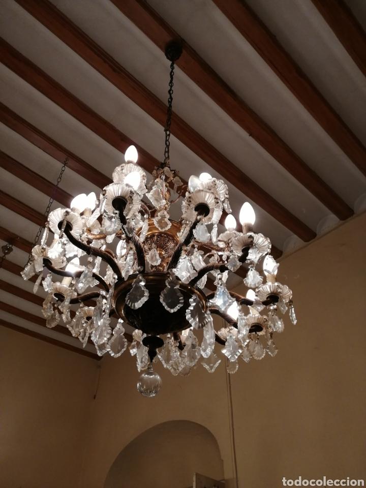 Antigüedades: Lámpara de araña 18 brazos de cristal y bronce - Foto 4 - 224444792