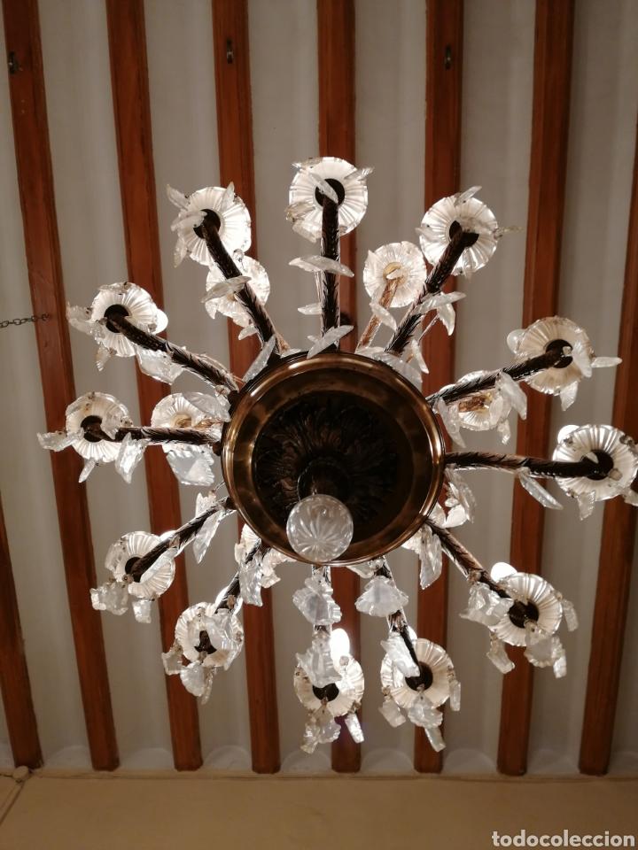 Antigüedades: Lámpara de araña 18 brazos de cristal y bronce - Foto 6 - 224444792