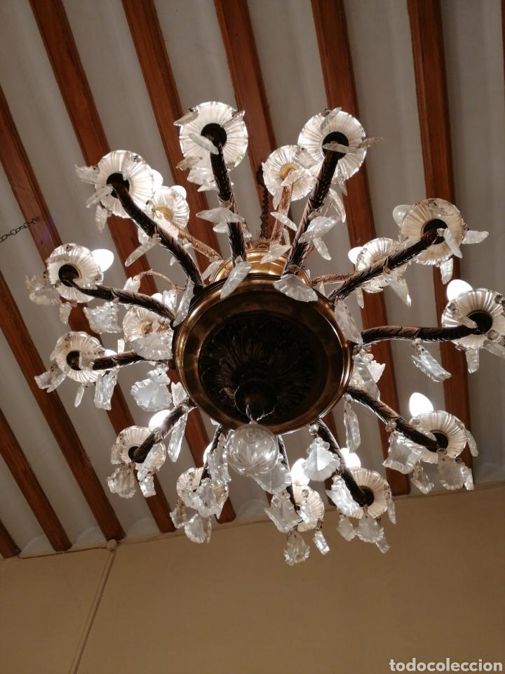 Antigüedades: Lámpara de araña 18 brazos de cristal y bronce - Foto 7 - 224444792