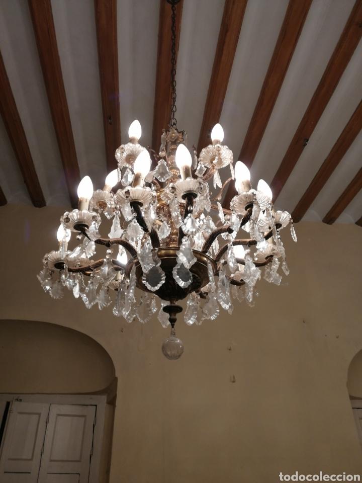 LÁMPARA DE ARAÑA 18 BRAZOS DE CRISTAL Y BRONCE (Antigüedades - Iluminación - Lámparas Antiguas)