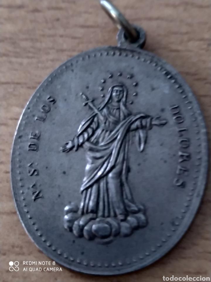 Antigüedades: Medalla antigua de nuestra señora de.los.dolores. - Foto 3 - 224575758