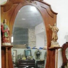 Antigüedades: ANTIGUO MUEBLE CONSOLA CON ESPEJO EN MADERA DE CAOBA, RESTAURADO. Lote 224670601