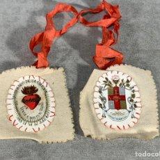 Antiquités: ESCAPULARIOS PÍO IX 14-7-1877 - APOSTOLADO DE LA ORACIÓN. Lote 224697342
