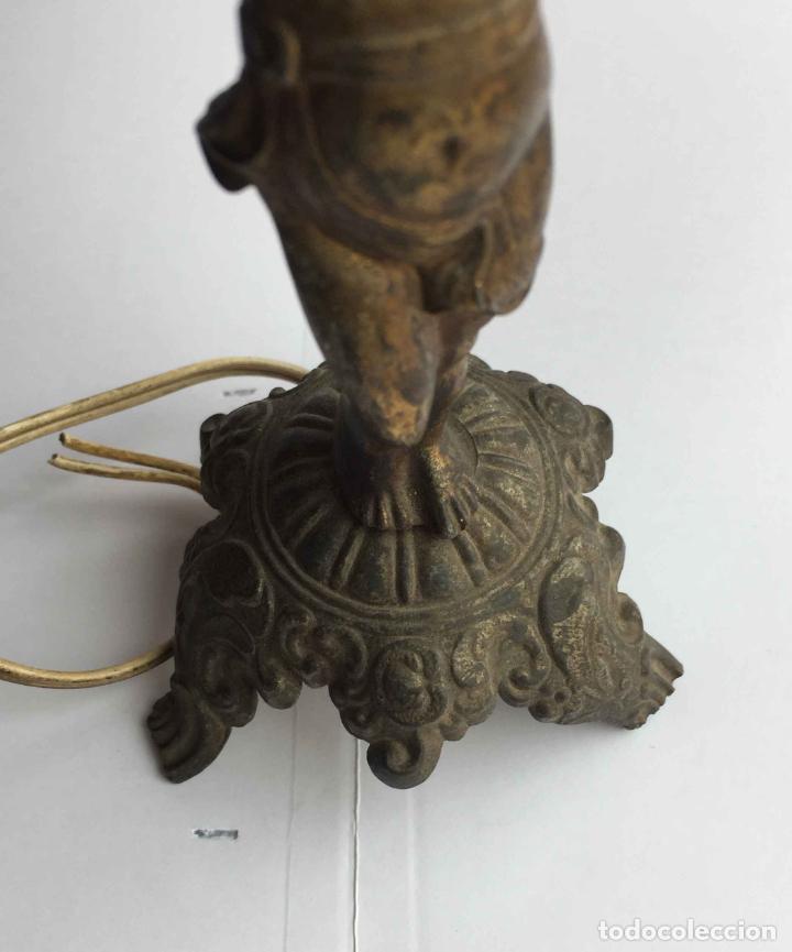 Antigüedades: Antiguo pie LÁMPARA DE MESA (Bronce, 1950's) Niño. Artesanal ¡COLECCIONISTA! ¡Original! - Foto 4 - 224719495