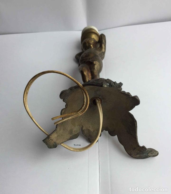 Antigüedades: Antiguo pie LÁMPARA DE MESA (Bronce, 1950's) Niño. Artesanal ¡COLECCIONISTA! ¡Original! - Foto 5 - 224719495
