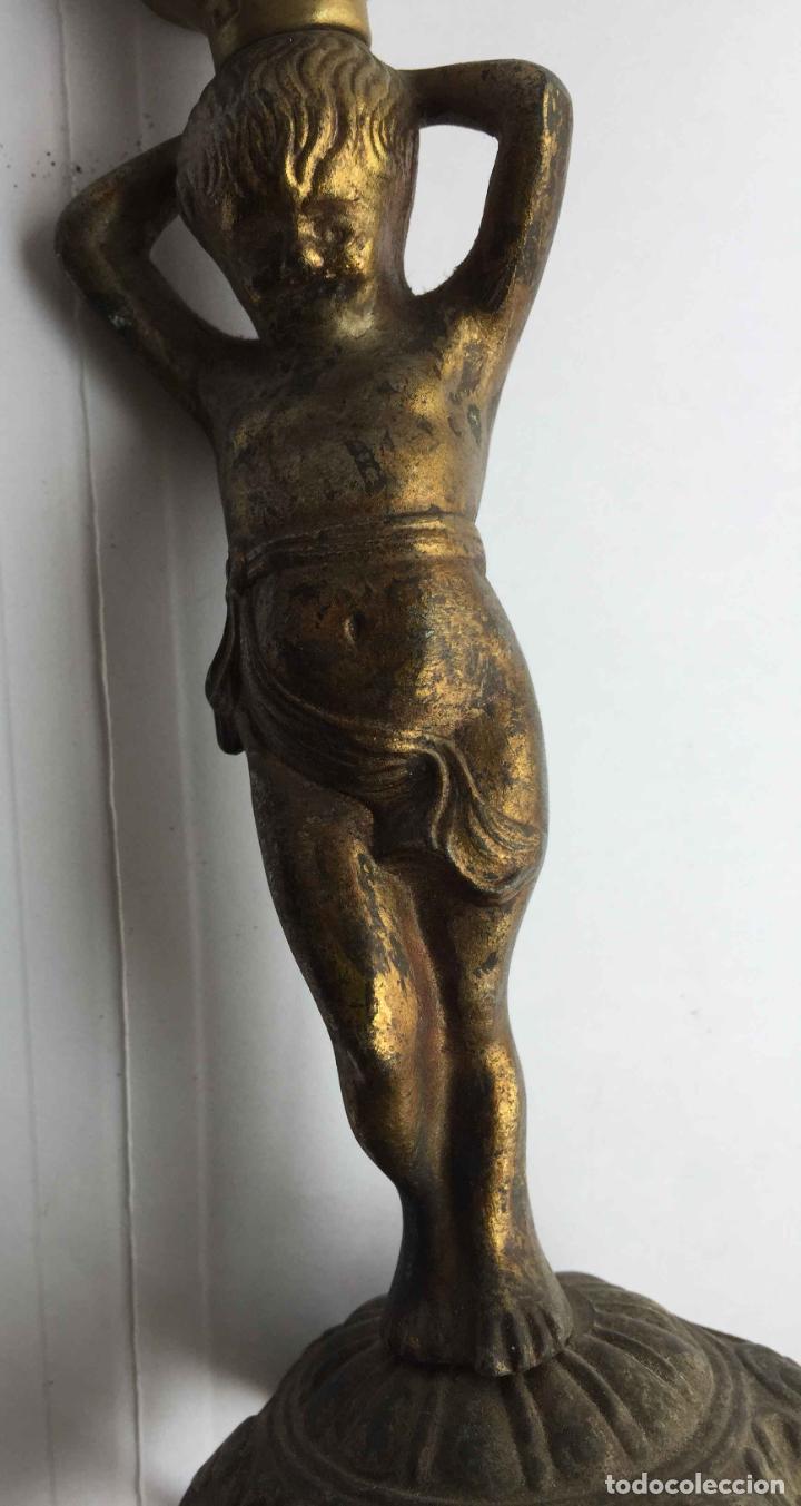 Antigüedades: Antiguo pie LÁMPARA DE MESA (Bronce, 1950's) Niño. Artesanal ¡COLECCIONISTA! ¡Original! - Foto 6 - 224719495