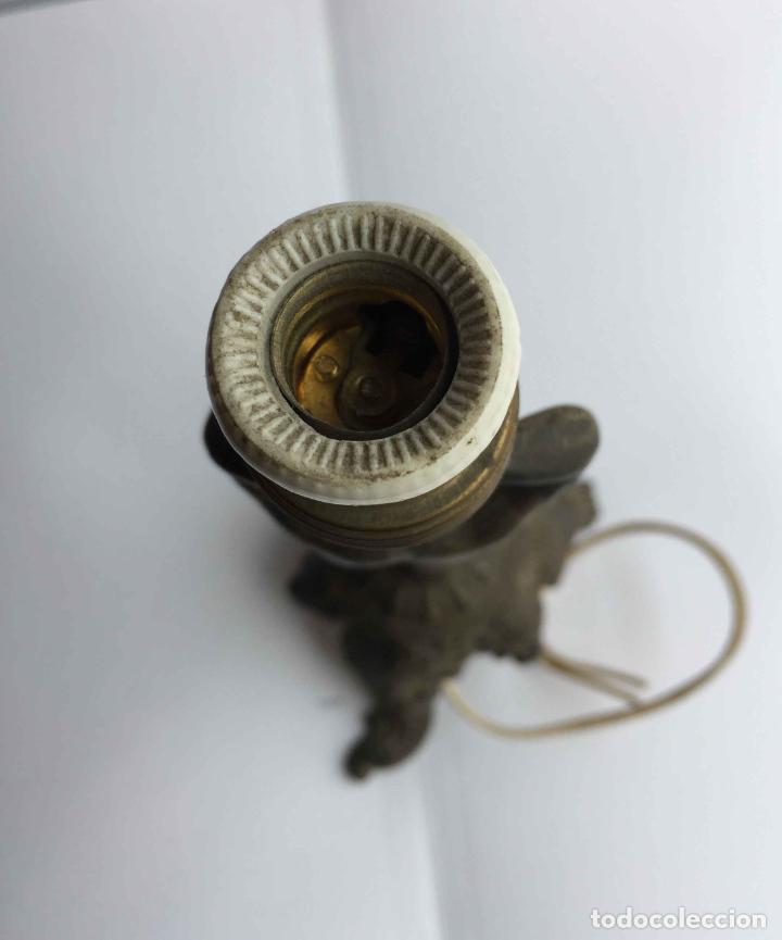 Antigüedades: Antiguo pie LÁMPARA DE MESA (Bronce, 1950's) Niño. Artesanal ¡COLECCIONISTA! ¡Original! - Foto 8 - 224719495