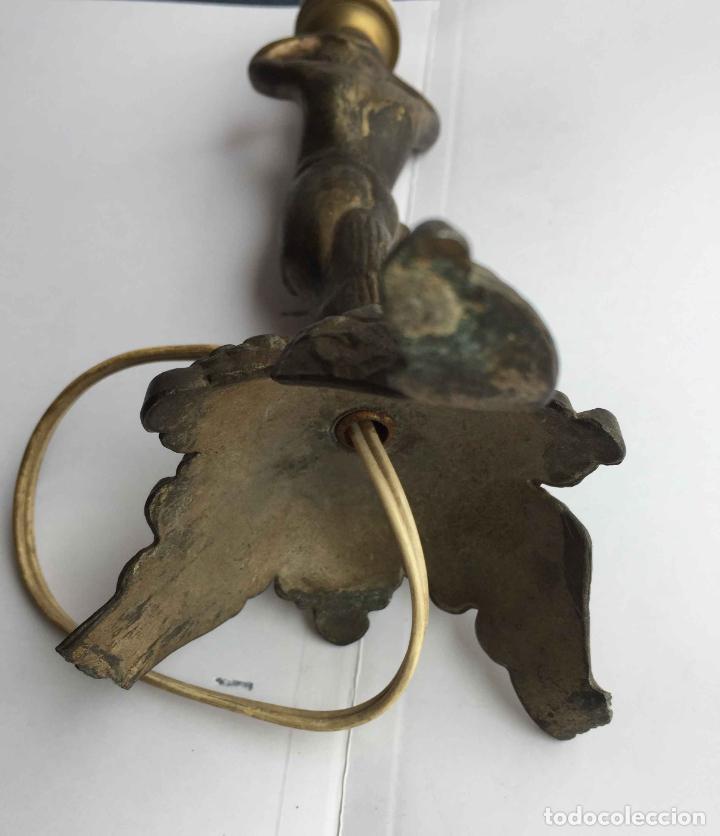 Antigüedades: Antiguo pie LÁMPARA DE MESA (Bronce, 1950's) Niño. Artesanal ¡COLECCIONISTA! ¡Original! - Foto 9 - 224719495