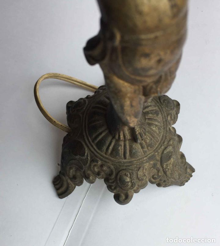 Antigüedades: Antiguo pie LÁMPARA DE MESA (Bronce, 1950's) Niño. Artesanal ¡COLECCIONISTA! ¡Original! - Foto 10 - 224719495