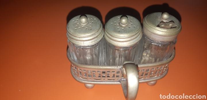 Antigüedades: Pequeño combo de sal, pimienta y mostaza años 40 inglés - Foto 2 - 224727696