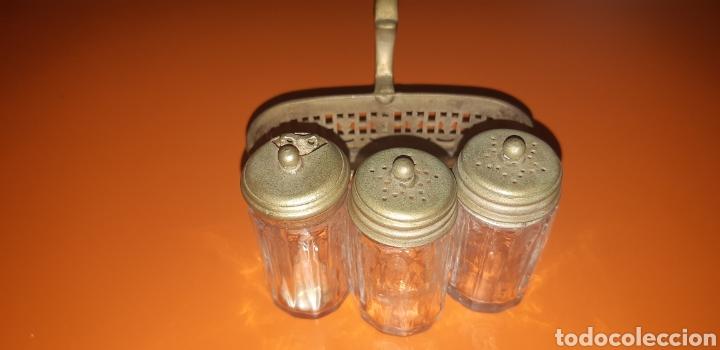 Antigüedades: Pequeño combo de sal, pimienta y mostaza años 40 inglés - Foto 3 - 224727696