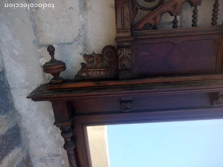 Antigüedades: Antiguo espejo colonial, de madera maciza ,madera tallada,cristal biselado. - Foto 18 - 224791522
