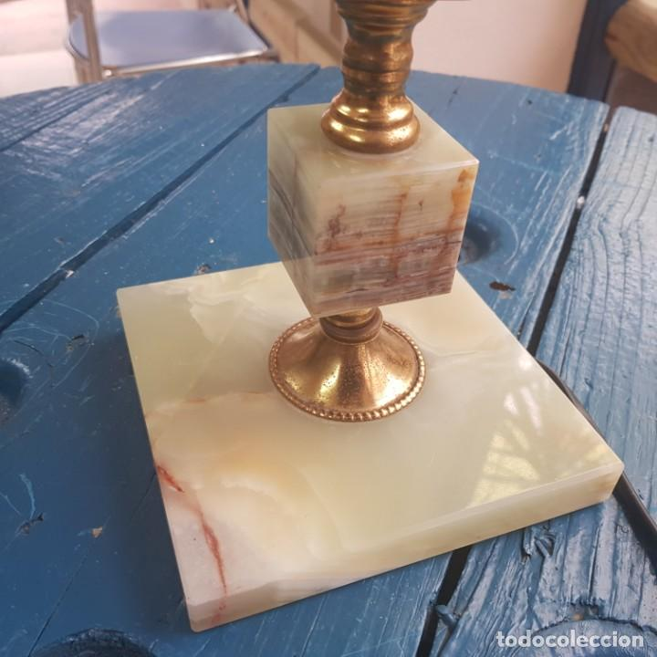 Antigüedades: LÁMPARA DE SOBREMESA CON PIE EN MÁRMOL - Foto 4 - 224842641