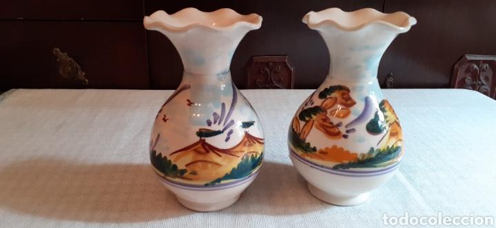 PAREJA DE JARRONES , 16 CM , TRIANA (Antigüedades - Porcelanas y Cerámicas - Triana)