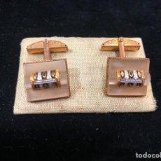 Antigüedades: ANTIGUO PASADOR GEMELOS ESMALTADOS PARA CAMISA. Lote 224897555