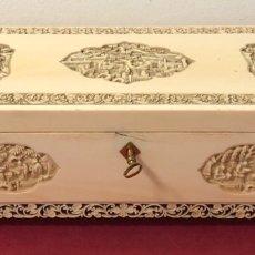 Antigüedades: SOBERBIA CAJA DE MARFIL ANTIGUA DE GRANDES DIMENSIONES. CANTÓN S.XIX.. Lote 224904153