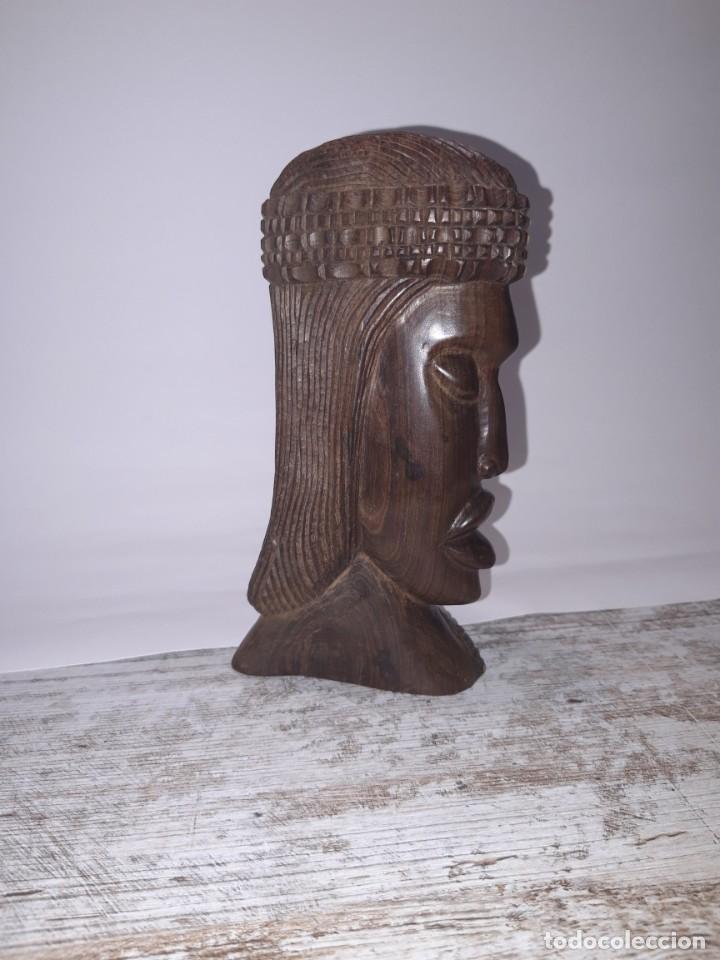 Antigüedades: Talla de Madera, cabeza de mujer etnica. - Foto 2 - 224918843