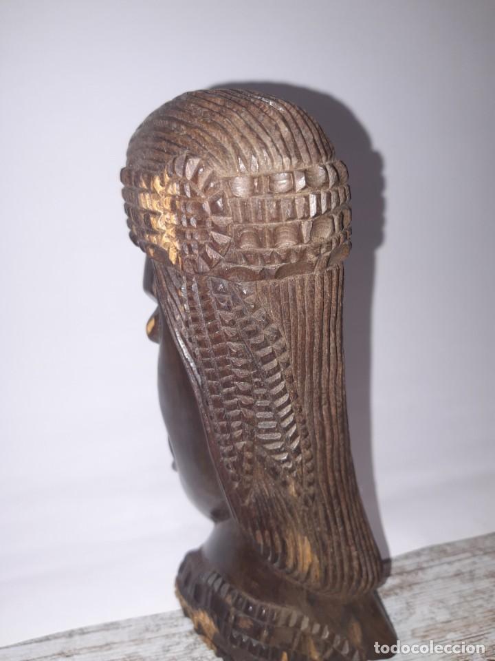 Antigüedades: Talla de Madera, cabeza de mujer etnica. - Foto 3 - 224918843