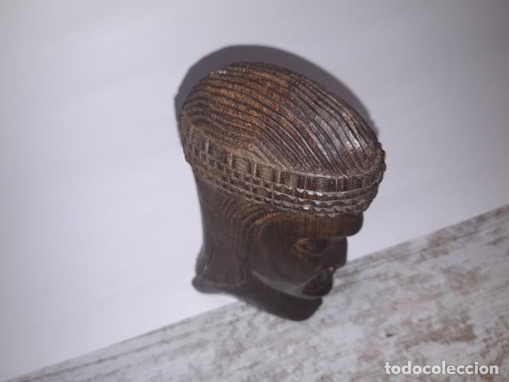 Antigüedades: Talla de Madera, cabeza de mujer etnica. - Foto 4 - 224918843