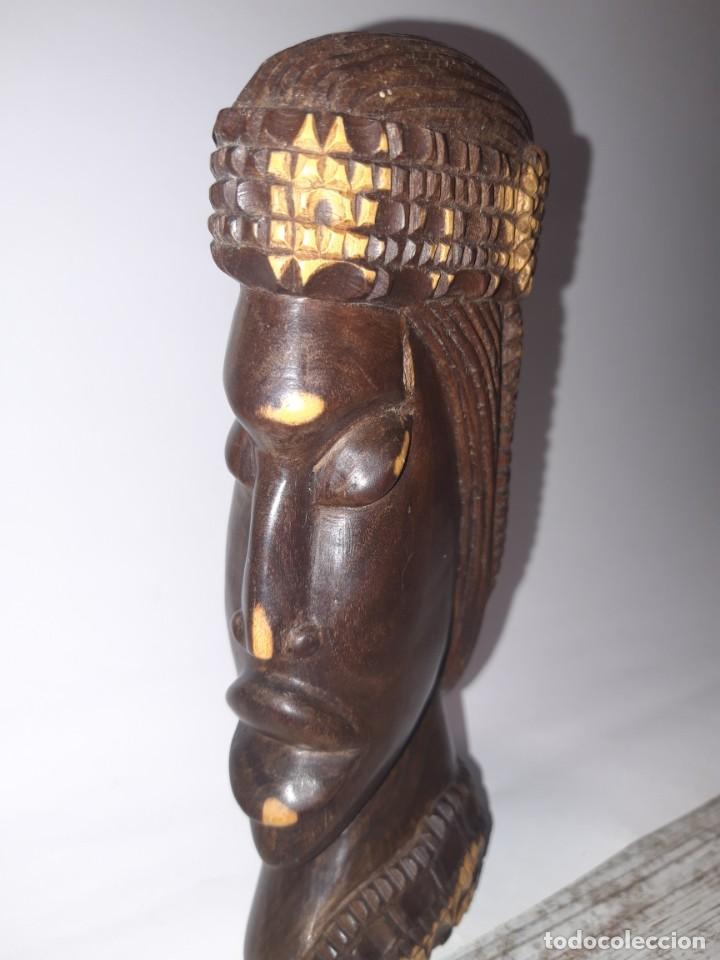 Antigüedades: Talla de Madera, cabeza de mujer etnica. - Foto 5 - 224918843