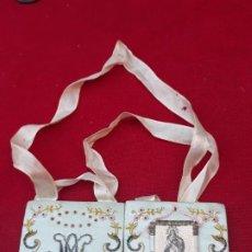 Antiquités: 2 ) ESCAPULARIO GRANDE ANTIGUO - LA PURISIMA CONCEPCION -. Lote 224964640