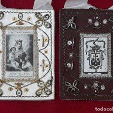 Antiquités: ESCAPULARIO GRANDE ANTIGUO - NUESTRA SEÑORA DEL MONTE CARMELO.. Lote 224967280