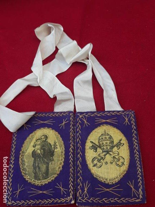 1) ESCAPULARIO GRANDE ANTIGUO - SAN JOSE PROTECTOR DE LA IGLESIA UNIVERSAL. (Antigüedades - Religiosas - Escapularios Antiguos)