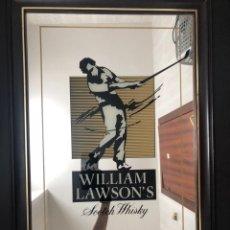 Antigüedades: WILLIAM LAWSON'S SCOTCH WHISKY RARO ESPEJO 68X50CM. Lote 225041510