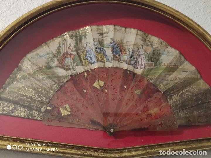 Antigüedades: ABANICO EN CAREY, PAÍS PAPEL PINTADO PRIMER TERCIO SIGLO XIX. - Foto 2 - 225060902