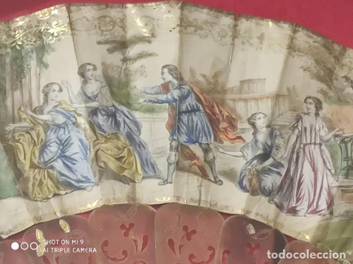Antigüedades: ABANICO EN CAREY, PAÍS PAPEL PINTADO PRIMER TERCIO SIGLO XIX. - Foto 3 - 225060902