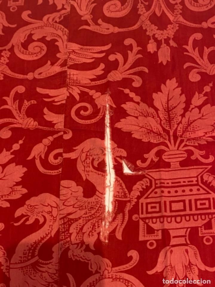 Antigüedades: BONITA TELA DE ALGODÓN ROJO ESTAMPADO - S. XIX - PARA RESTAURACIÓN O RECONSTRUCCIÓN - Foto 7 - 26694135