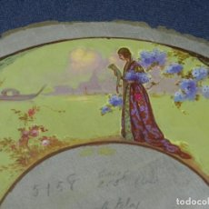 Antigüedades: (M) DISEÑO ORIGINAL PINTADO A MANOS PARA REALIZAR UN ABANICO, ÉPOCA MODERNISTA. Lote 225120975