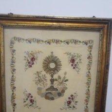 Antigüedades: TELA RELIGIOSA CON BONITO MARCO SIGLO XIX,. Lote 225140445