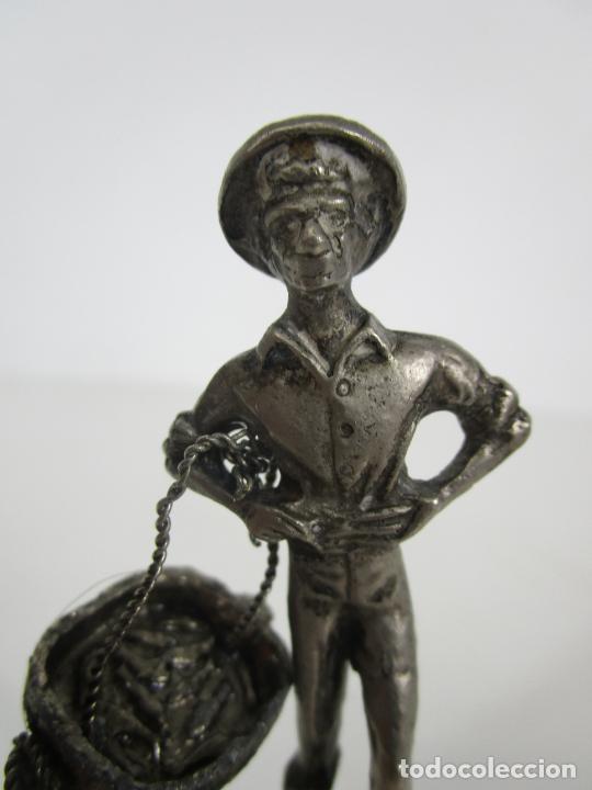 Antigüedades: Bonita Campanilla, Llamador - Metal Plateado - Pescador - Foto 6 - 225163512