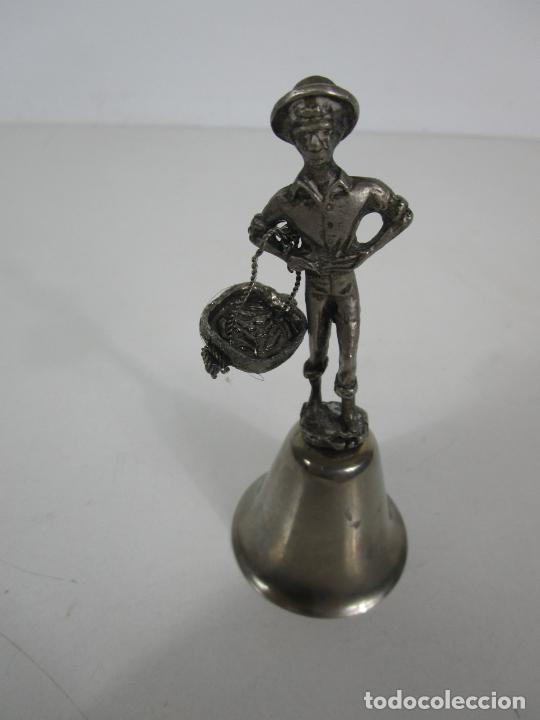 Antigüedades: Bonita Campanilla, Llamador - Metal Plateado - Pescador - Foto 7 - 225163512