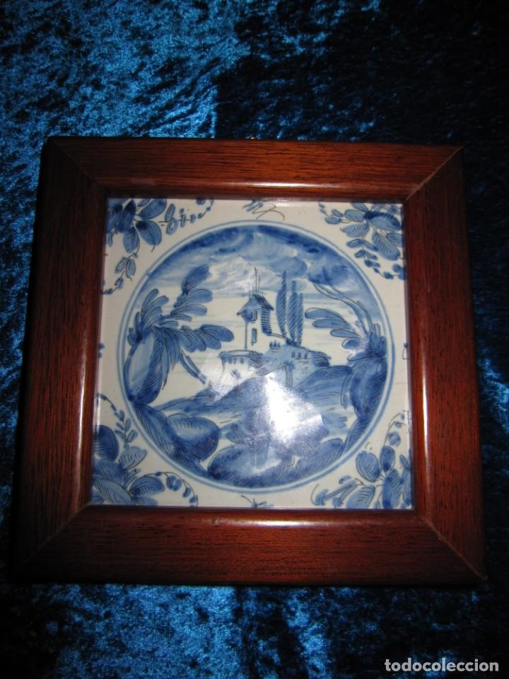 Antigüedades: Azulejo enmarcado paisaje blanco y azul - Foto 3 - 225174495